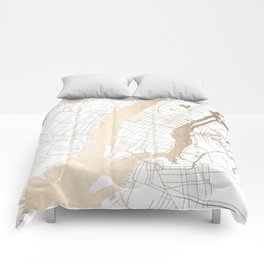 New York City White on Gold Comforters