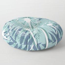 Dandelions palm Leaves blue light #leaves #society6 Floor Pillow