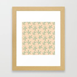 Green & Pink Floral Framed Art Print