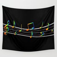 music notes Wall Tapestries featuring Rainbow Music Notes on Black by GBC Design
