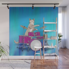 Cat Playing Drums - Blue Wall Mural
