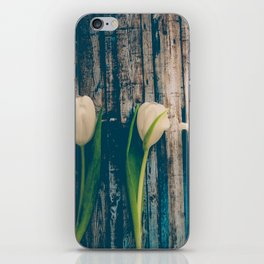 White Easter Tulip Flowers on Wooden Blue Old Planks iPhone Skin