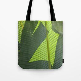 Green Tropical Leaves: Sunlight and Shadows Tote Bag