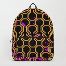 Gold retro octagon geometric pattern Backpack