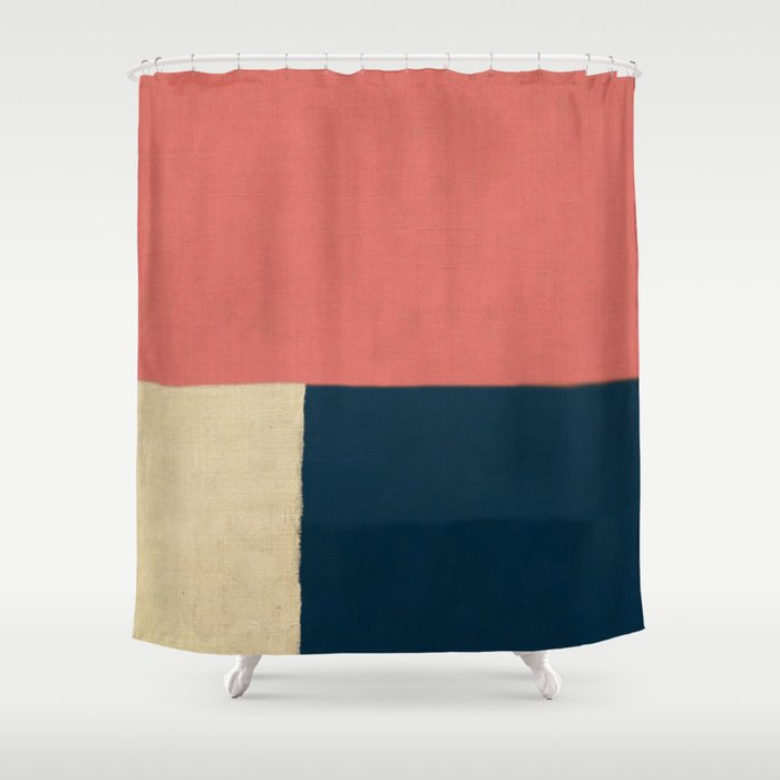 Salmon White Navy Blue Shower Curtain By Fernandovieira