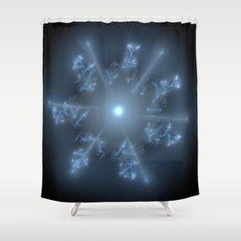 Fractal 29 blue star Shower Curtain