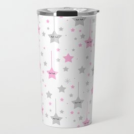 Pink Twinkle Sleepy Eyes Stars Baby Girl Nursery Travel Mug