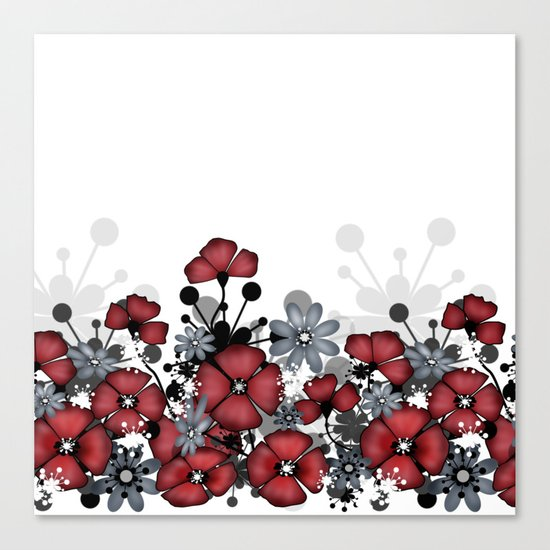 Red flowers on a white background . Canvas Print