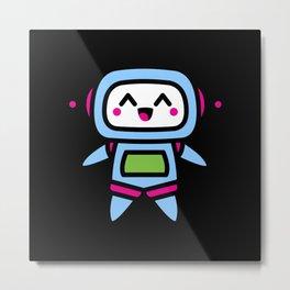 Kawaii Robot Gift Idea Design Motif Metal Print