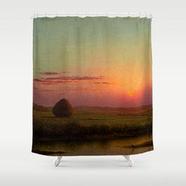 Pink Sunset over Scituate, Rhode Island Marches Landscape by Martin Johnson Heade Shower Curtain