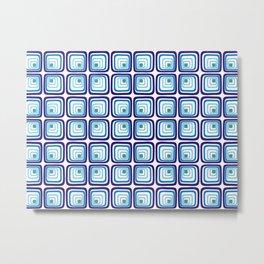 Retro blue square tiles Metal Print