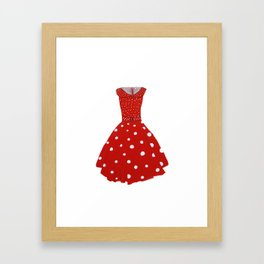 Polka Dotted Red Dress  Framed Art Print