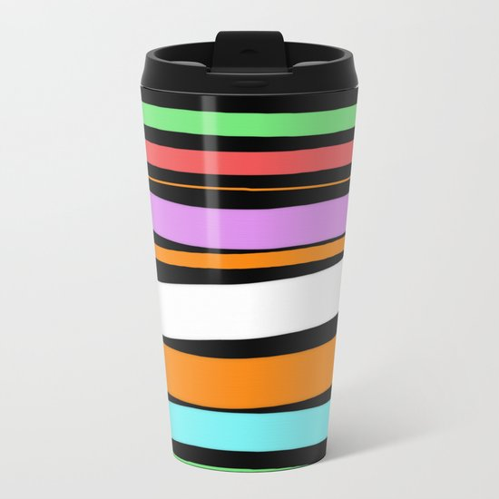 Pastel Brush Strokes Metal Travel Mug