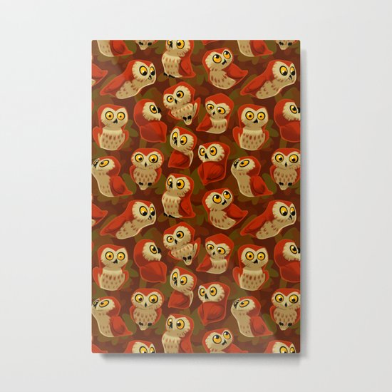 Northern Saw-whet owls pattern. Metal Print