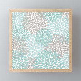 Floral Pattern, Teal, Aqua, Turquoise,Gray Framed Mini Art Print