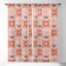 Retro floral pattern no4 Sheer Curtain