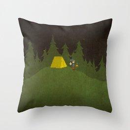 Camping Scene Throw Pillow