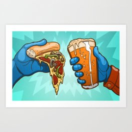 Pizza And Craft Beer Art Print