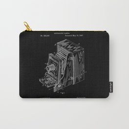 Vintage Camera Patent - White on Black Carry-All Pouch
