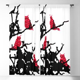 Red Owls Blackout Curtain