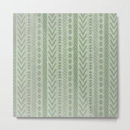 Textured Art, Woven Linen, Green, Boho Wall Art Metal Print