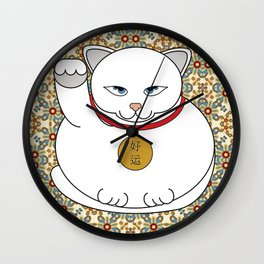 Paws Up For Lucky White Cat Wall Clock