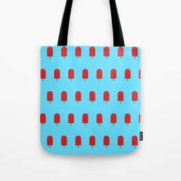Red Popsicles - Blue Background Tote Bag