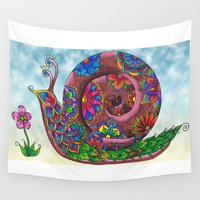 snail Wall Tapestries featuring Snail by WelshPixie