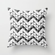 Chevron Facet Black & White Throw Pillow