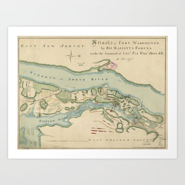 Fort Washington Map.Attacks Of Fort Washington Map November 16 1776 Art Print By
