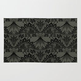Stegosaurus Lace - Black / Grey Rug