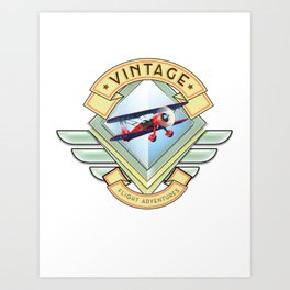 vintage flying logo. Art Print