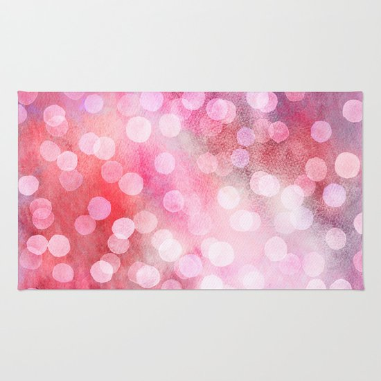 Pink Abstract Watercolor Dots Rug By