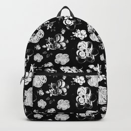 Black and White beaded flower print by Annalee Beer Backpack