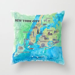 New York City Favorite Travel Map with Touristic Highlights Throw Pillow