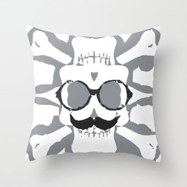 old funny skull art portrait in black and white Throw Pillow