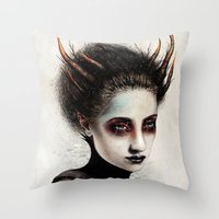 death Throw Pillows featuring Death by Feline Zegers