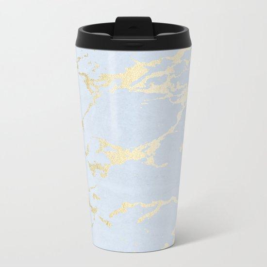 Simply Kintsugi Ceramic Gold on Sky Blue Metal Travel Mug