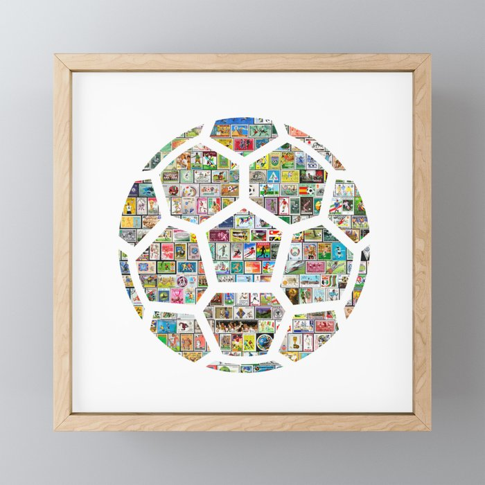 Philately Soccer Ball Framed Mini Art Print