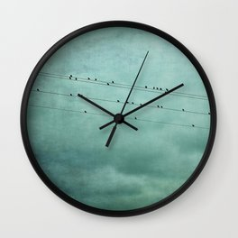 Birds on Wires Wall Clock