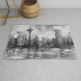 Seattle Skyline Painting Watercolor Black and White Space Needle Rug
