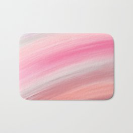 Girly aurora pink coral abstract brushstrokes Bath Mat