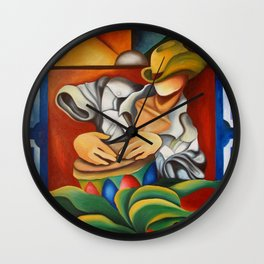 Tambor and Vitral (Drum and Stained-glass) Miguez Cuban Art Wall Clock