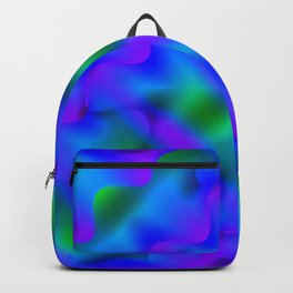Bright pattern of blurry green and blue flowers in a dark kaleidoscope. Backpack