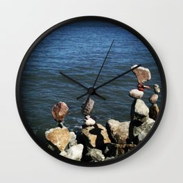 Rock Stacking in San Franscisco Wall Clock