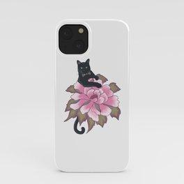Black Cat on Flower iPhone Case