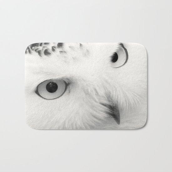 owl chouette bird white Bath Mat