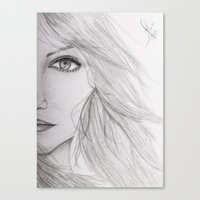 emma stone Canvas Prints featuring Emma Stone Drawing by Olivia Scotton
