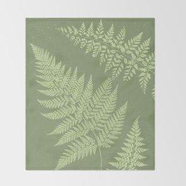 Dark olive fern Throw Blanket