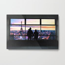 Paris France Window and Couple Looking at the City Colorful Metal Print
